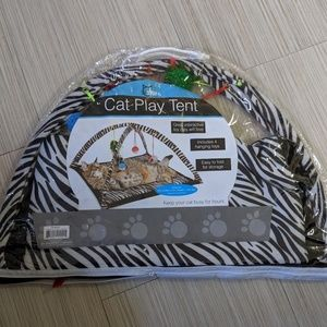 Other - Zebra Print Cat Play Tent with Dangle To